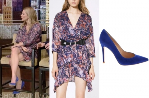kelly ripa, live with kelly and ryan, metallic printed dress, blue suede heels