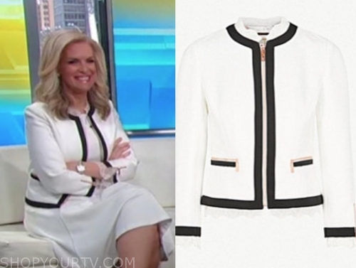 janice dean, fox and friends, white and black trim jacket