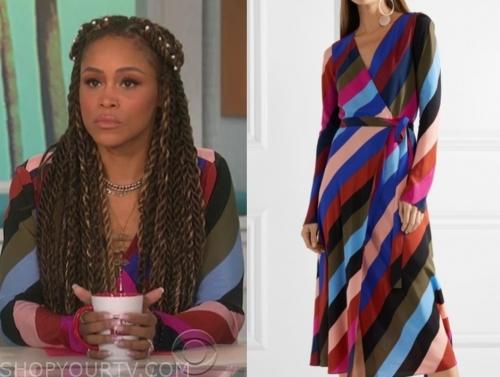 eve, the talk, diagonal stripe wrap dress