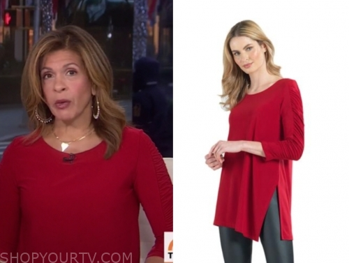 hoda kotb, the today show, red ruched tunic top