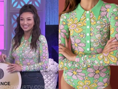 jeannie mai, the real, green and pink floral bodysuit top