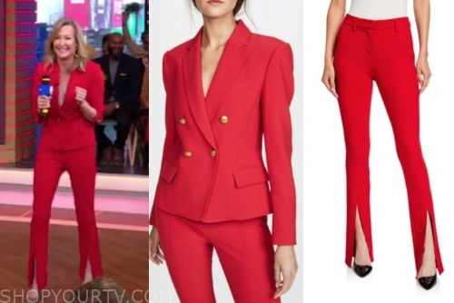 lara spencer, red double breasted blazer and pant suit, gma