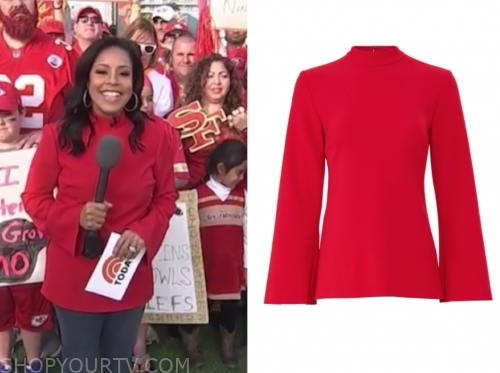 sheinelle jones, the today show, red mock neck top
