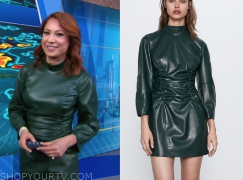 ginger zee, green leather mini dress, gma