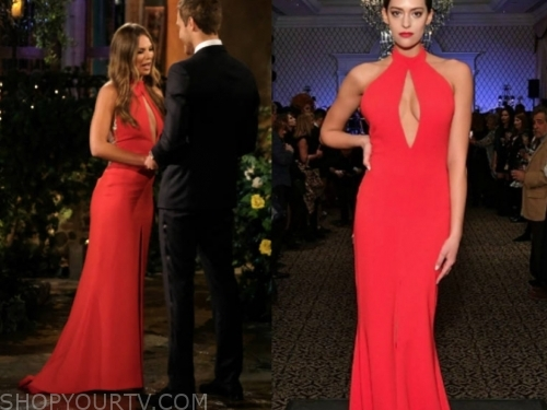 hannah brown, red cutout gown, the bachelor
