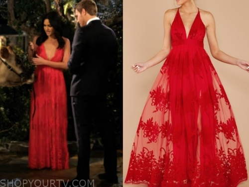 jenna s.'s red lace maxi dress, the bachelor