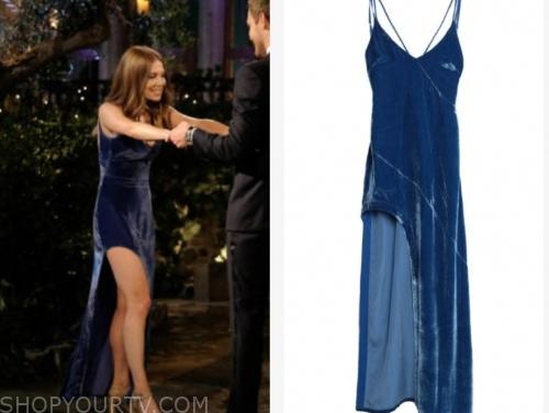 lexi b. the bachelor, blue velvet dress