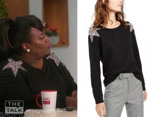 sheryl underwood, the talk, black sequin star shoulder sweater