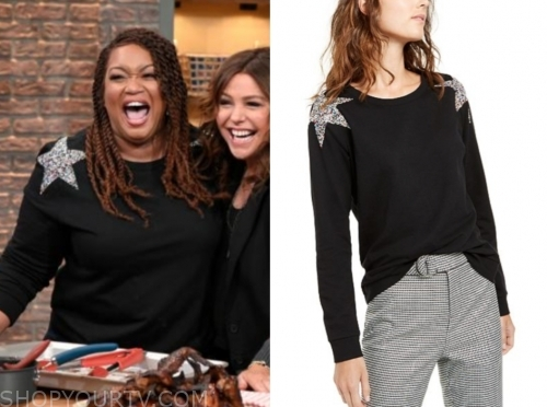 sunny anderson, embellished star shoulder sweater, the rachael ray show