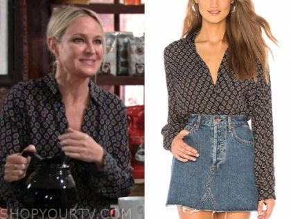 sharon case, sharon newman, the young and the restless, navy printed blouse