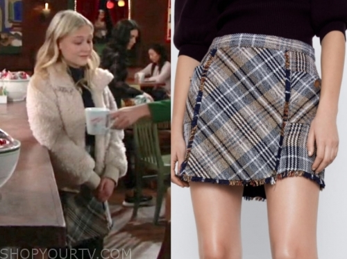 the young and the restless, alyvia alyn lind, faith newman, plaid skirt