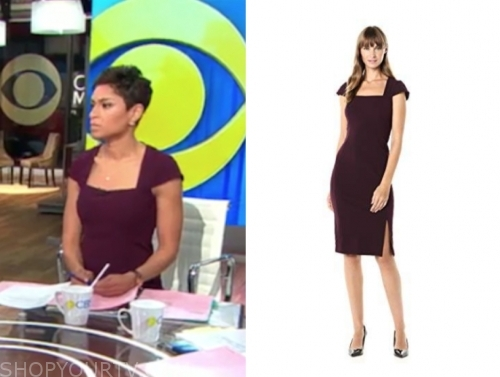 jericka duncan, cbs this morning, burgundy sheath dress