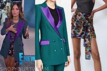 lilliana vazquez, E! news, green and purple blazer, sequin mini skirt