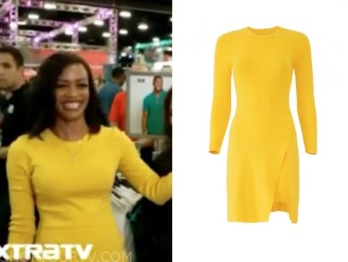 rachel lindsay, extra tv, yellow dress