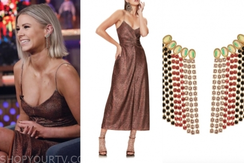 ariana madix, wwhl, metallic dress, multicolor earrings