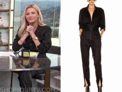 morgan stewart, E! news, black zipper jumpsuit