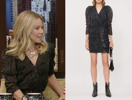 kelly ripa, black printed dress, live with kelly and ryan