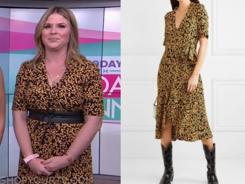 jenna bush hager, the today show, black and yellow printed midi dress