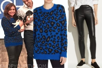 rachael ray, the rachael ray show, blue leopard sweater, black leather leggings
