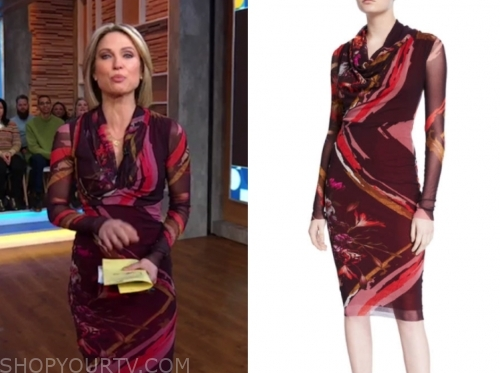 amy robach, gma, printed long sleeve dress