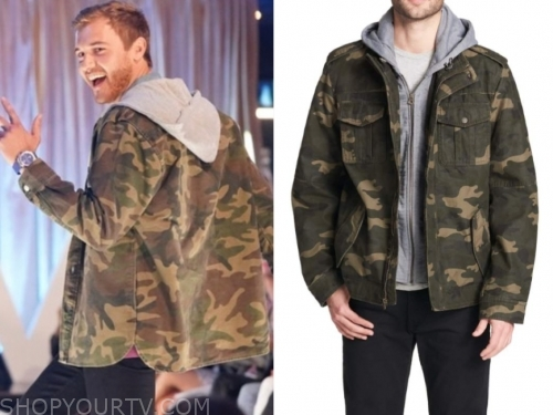 the bachelor, peter weber, camo hooded sweater jacket