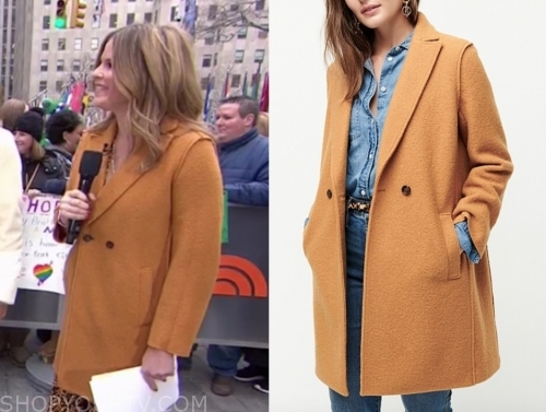 jenna bush hager, the today show, camel double breasted coat