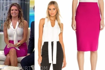 jillian mele, fox and friends, white sleeves tie neck top, pink pencil skirt