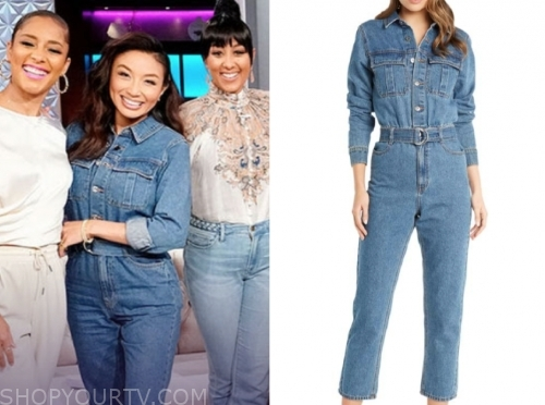 jeannie mai, denim jumpsuit, the real