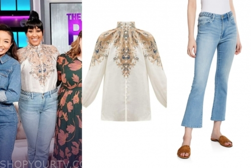 tamera mowry, the real, braided jeans, printed high neck blouse