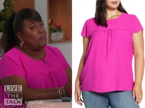 sheryl underwood, the talk, hot pink scallop top