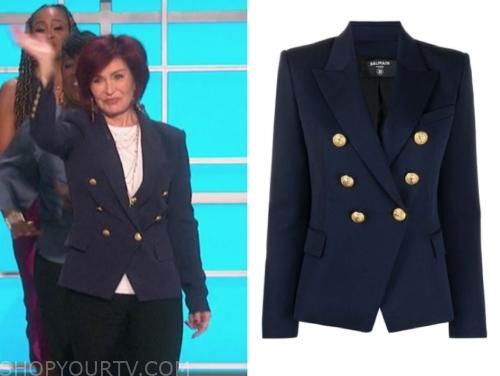 sharon osbourne, the talk, navy double breasted blazer