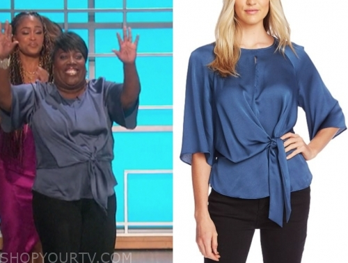 sheryl underwood, the talk, blue keyhole top