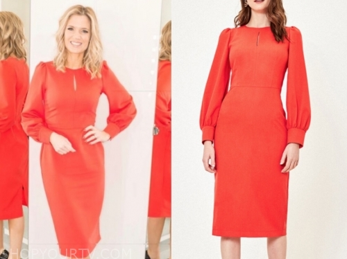 charlotte hawkins, gmb, red keyhole dress