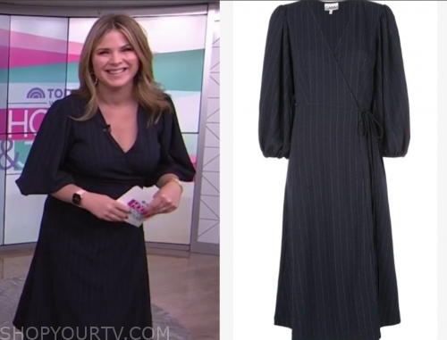 jenna bush hager, the today show, navy pinstripe midi wrap dress