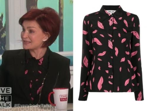 sharon osbourne, the talk, lip print blouse