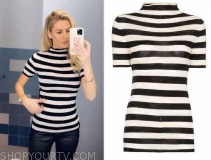 morgan stewart, black and white stripe top, E! news, daily pop