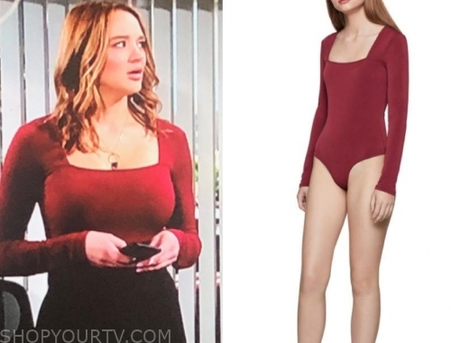 summer newman, the young and the restless, hunter king, red square neck top