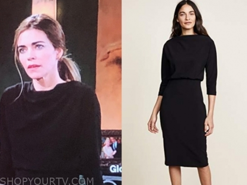 victoria newman, the young and the restless, black dress, amelia heinle