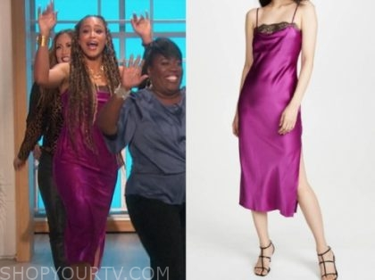 eve, the talk, purple and black lace slip dress