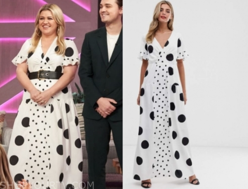 kelly clarkson, the kelly clarkson show,, polka dot maxi dress