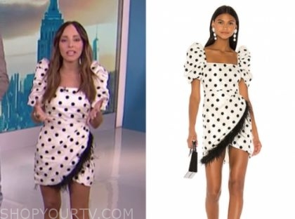 E! news, lilliana vazquez, polka dot feather dress