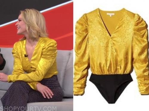 sara haines, gma3, yellow snakeskin blouse