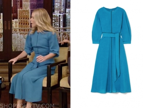 kelly ripa, turquoise blue midi dress, live with kelly and ryan