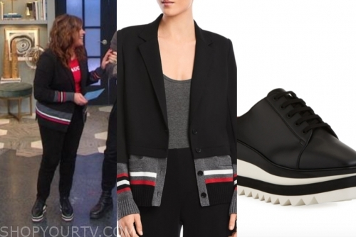 rachael ray, black stripe jacket, black leather platform sneakers, the rachael ray show