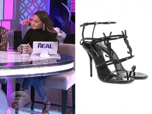 adrienne bailon, black sandals, the real