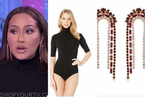 the real, adrienne bailon, black turtleneck top, rhinestone earrings