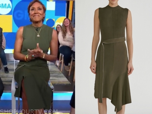 robin roberts, the real, olive green knit dress