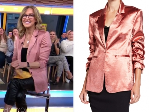 lara spencer, good morning america, pink satin blazer