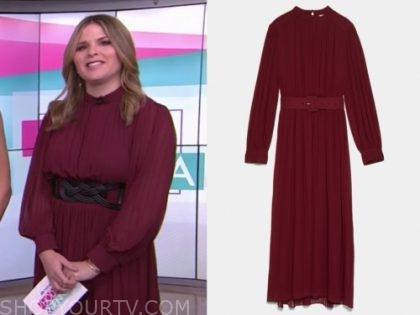jenna bush hager, the today show, burgundy pleated midi dress