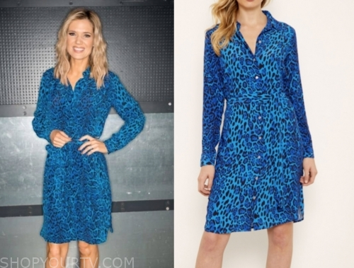 charlotte hawkins, good morning britain, blue leopard shirt dress
